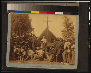 Sunday Mass in camp of 69th NYSM, near Washington, June, 1861.