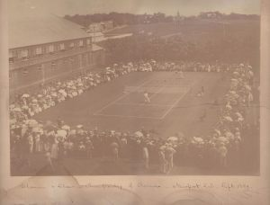Henry Slocum defeated Quincy Shaw to win the 1889 U. S. Open Tennis Championship. Slocum is believed to be in the far court in this image.