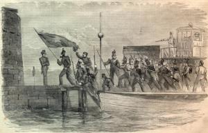 OCCUPATION OF CASTLE PINCKNEY BY THE CHARLESTON MILITIA, DECEMBER 26, 1860.  Harper's Weekly, 01/12/1861