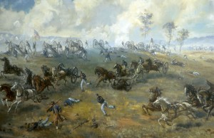 """The Capture of Rickett's Battery"" by Sidney King, 1964 (oil on plywood). On display in the Henry Hill Visitor Center at Manassas National Battlefield Park."