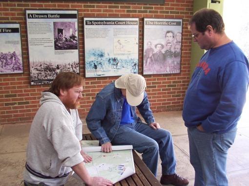 10- Dave, Zack, John in Saunders Field shelter